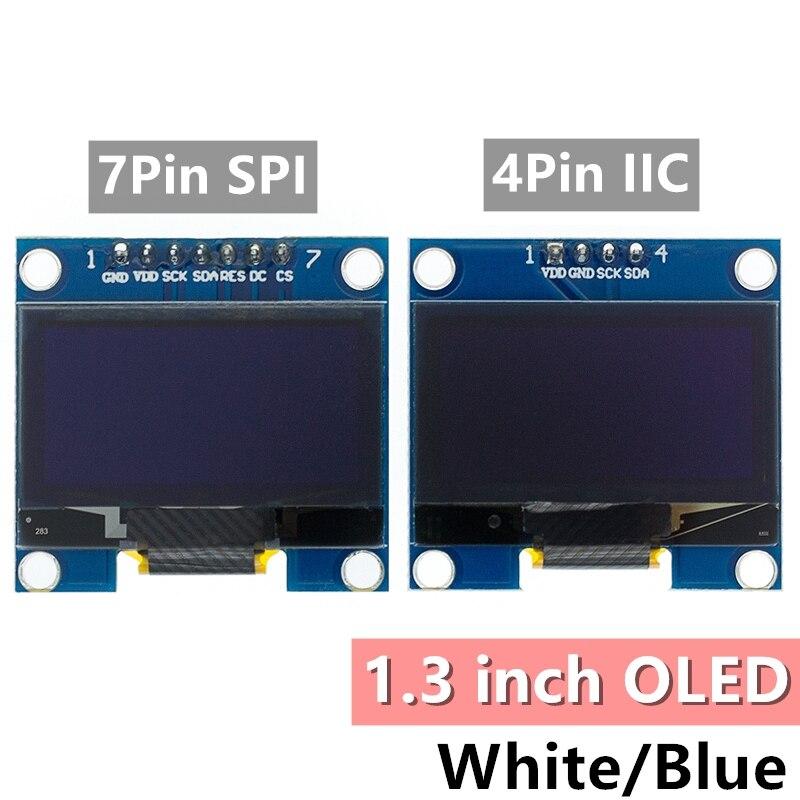 1 pces módulo oled de 1.3 polegadas branco/azul spi/iic i2c comunicar cor 128x64 1.3 polegadas oled lcd display led módulo 1.3