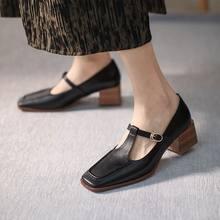 Sandra jrr retro praça toe t fivela bombas sapatos feminino med sandálias de salto verão primavera sapatos de couro 5 cm