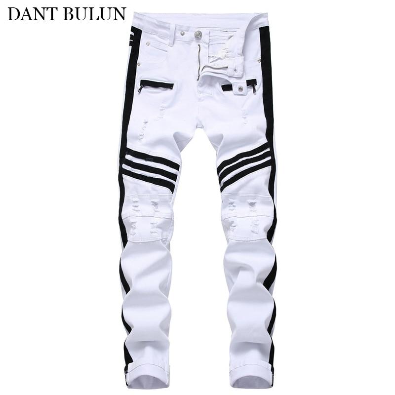 Mens Jeans Skinny Stretch Biker Moto Jeans Men Side Stripe Slim Fit Straight Mens Denim Pants Ripped Zipper Designer Trousers