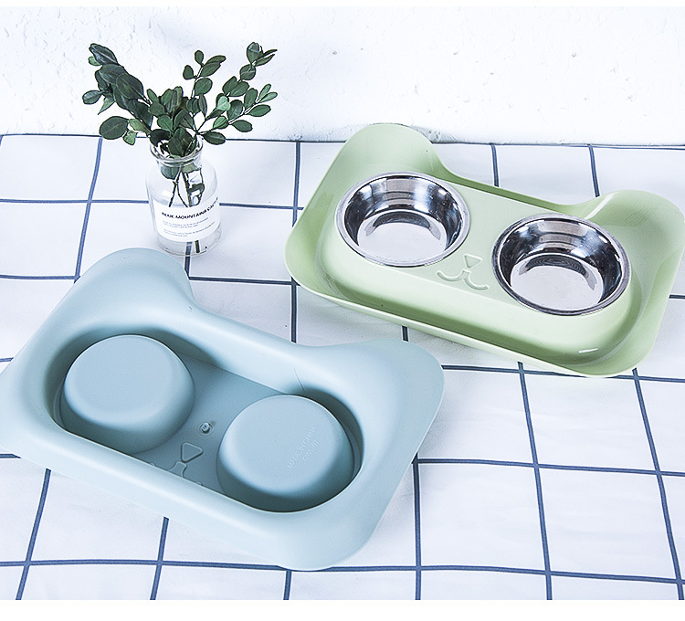 Cat Bowl Pet Supplies Stainless Steel + Pp Universal With Spill-proof And Nonslip Design For Food Water Feed Durable Double