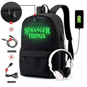 Image 5 - Stranger Dingen Rugzak Multifunctionele Usb Opladen Voor Tieners Jongens Student Meisjes Schooltassen Reizen Lichtgevende Tas Laptop Pack