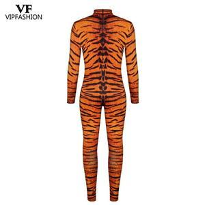 Image 3 - VIP אופנה 2019 ליל כל הקדושים Cosplay תלבושות לגברים נמר 3D הדפסת בעלי החיים מערער נחש שרירים בגד גוף סרבלי