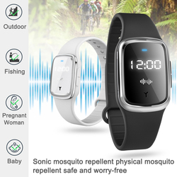 Rechargeable Smart Electronic Mosquito Repellent Watch Wristband Ultrasonic Mosquito Repellent Bracelet with Clock Function
