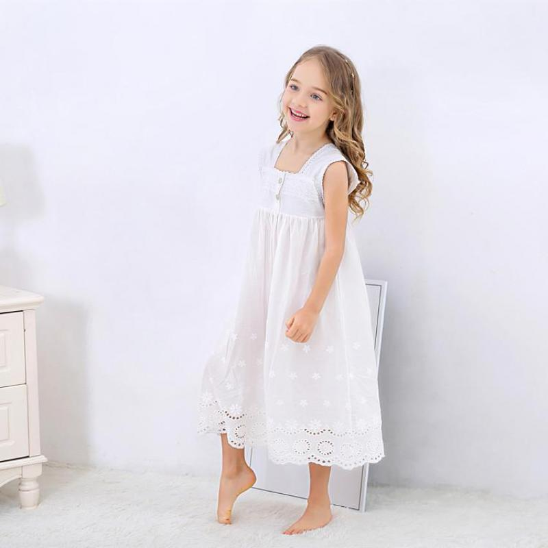 Toddle Girl White Nightdress Princess Dress Children Pajamas Nightgowns For Girls Kids Night Dress Girl Lace Sleeping Dress 5