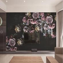 Milofi custom 3D retro hand-painted rose flower large TV bedroom background