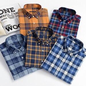 Image 1 - قميص منقوش رجالي غير رسمي قمصان فضفاضة طويلة الأكمام موضة الأعمال 100% قطن ملابس ماركة للرجال Plus Zise 6XL 7XL 8XL 9XL 10XL