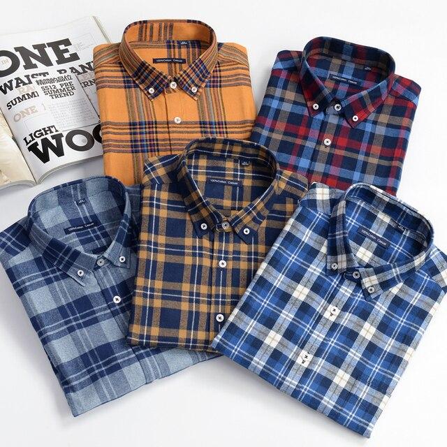 قميص منقوش رجالي غير رسمي قمصان فضفاضة طويلة الأكمام موضة الأعمال 100% قطن ملابس ماركة للرجال Plus Zise 6XL 7XL 8XL 9XL 10XL