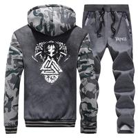 Viking legend Thick Warm Tracksuit Men Sweatshirt Trousers Winter Hoodies Mens Jacket+Pants 2PC Sets Male Sports Suit Outwear