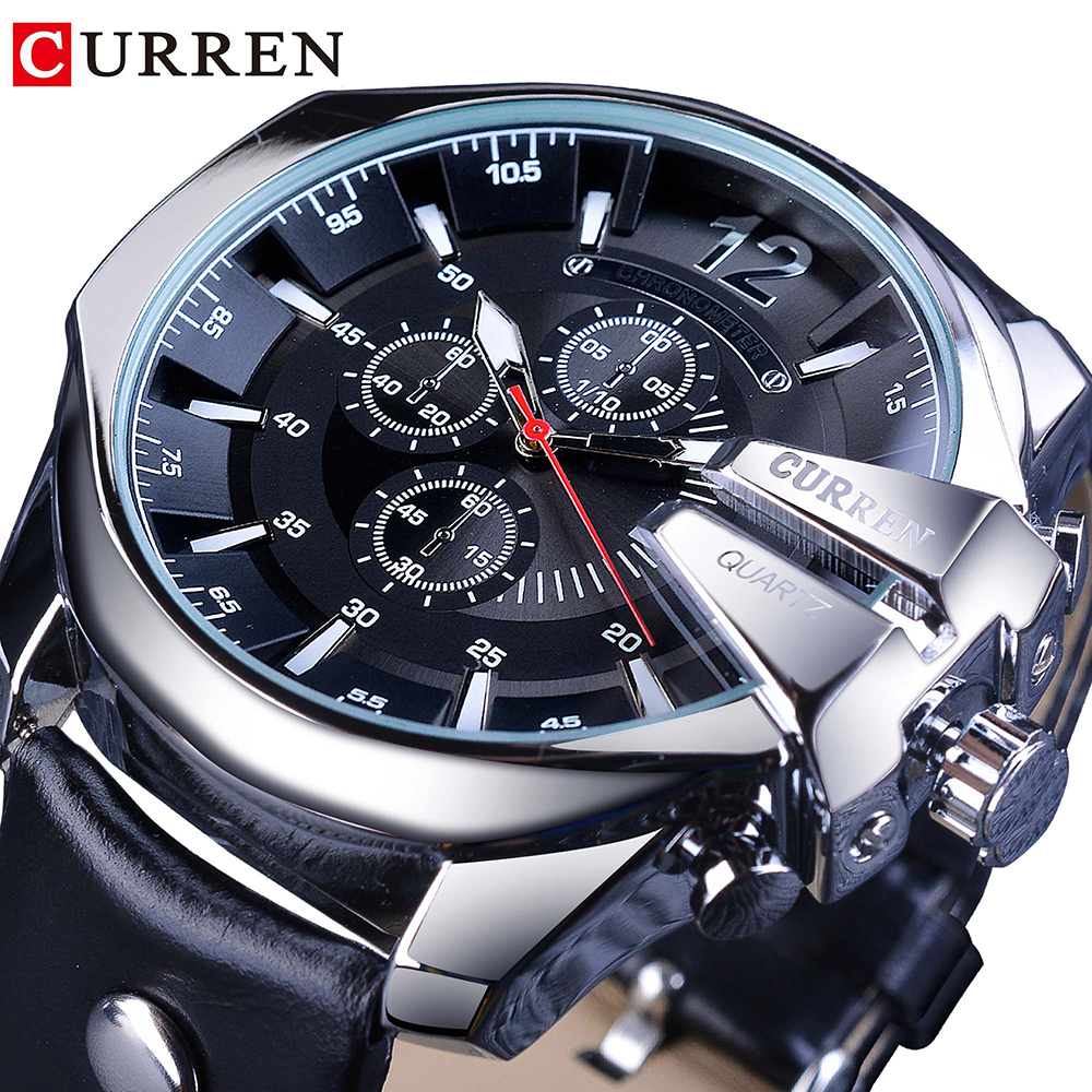 CURREN Army Military Pilot Design Wrist Watch Big Dial Fashion Waterproof Mens Quartz Top Brand Luxury Male Watch Leather Clock
