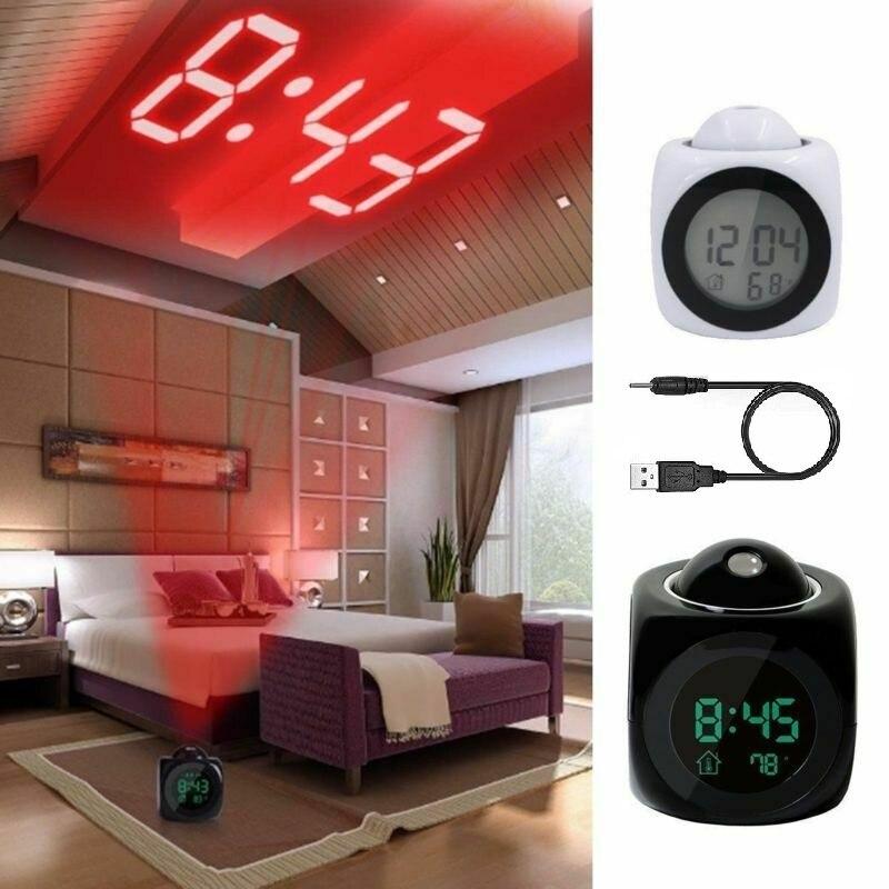 Домашний Многофункциональный светодиодный ЖК дисплей с проекцией времени цифровой Повтор Будильник Голосовая говорящая настенная потолочная проекция|Будильники|   | АлиЭкспресс