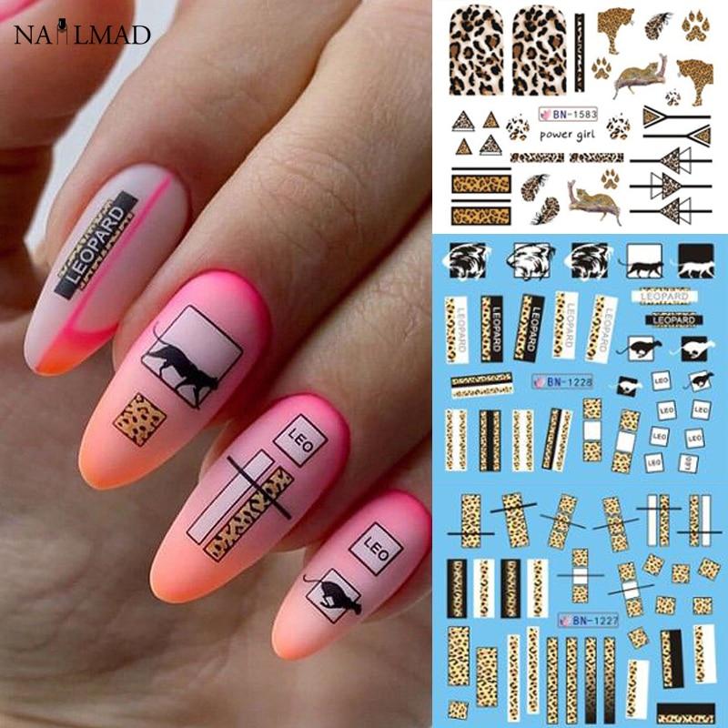 Набор леопардовых стикеров для маникюра, 24 шт., водные геометрические Слайдеры для ногтей с дикими животными, наклейки для ногтей, сделай сам|Стикеры и наклейки|   | АлиЭкспресс