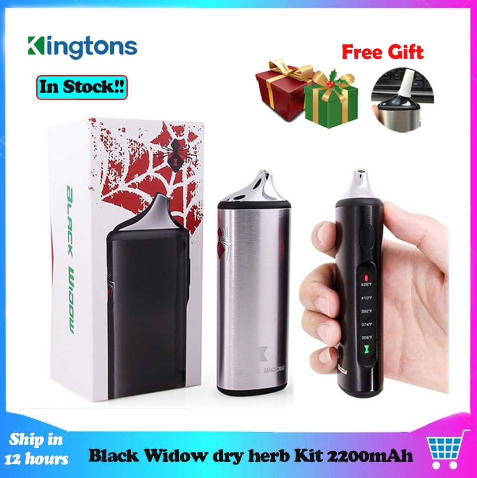 Original Kingtons dry herb herbal vaporizer e cigarette Black Widow vapor box mod vape vaporizador wax kit 2200mAh vs AMAZE WOW-in Electronic Cigarette Kits from Consumer Electronics    1