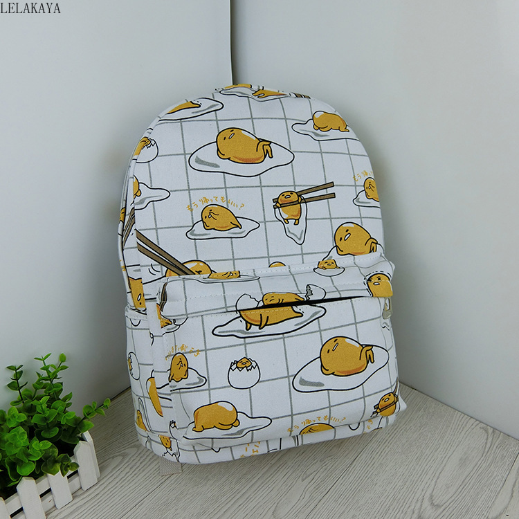 Image 4 - Cartoon Cat Yellow Gudetama Lazy Egg Student Shoulder Bags Action Figure Printed Canvas Kids Fashion School Backpack gifts NewAction & Toy Figures   -