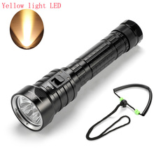 new 4 x XM-L L2 Yellow Light 6000 Lumens LED Diving Flashlight Underwater Waterpoof Powerful Tactica