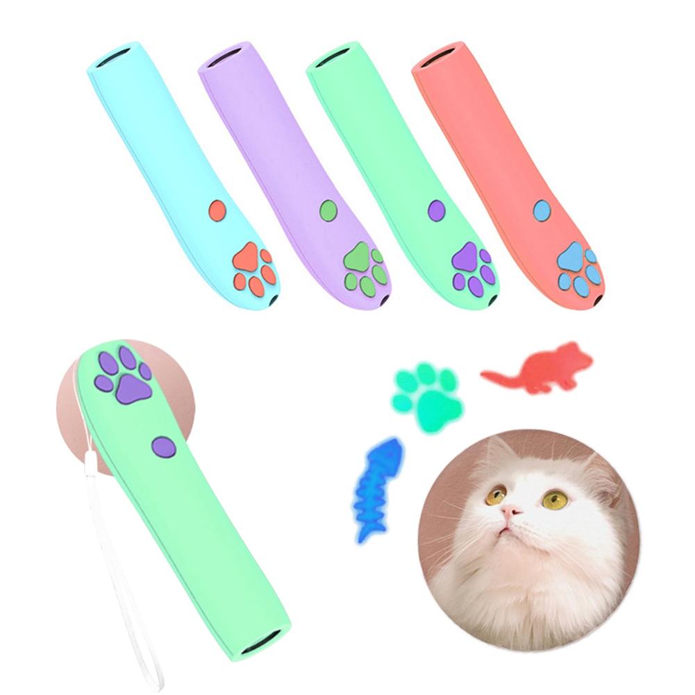 Pet Láser LED gato juguete gatito ratón pescado juguete con luz láser interactivo vista puntero láser pluma gato de juguete producto