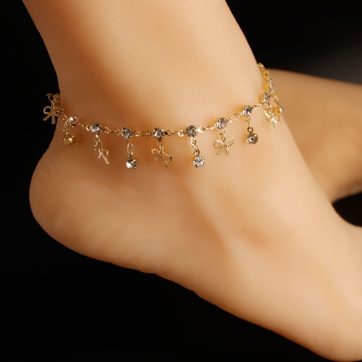 Ladies Fashion Zircon Bow Anklet Barefoot Beach Holiday Foot Jewelry Gift