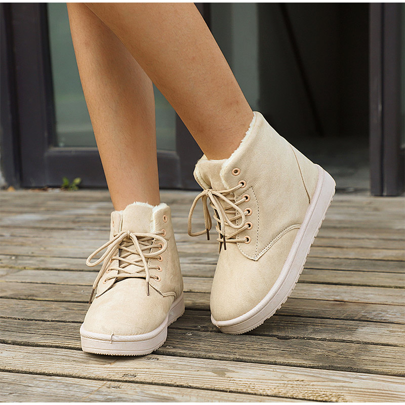 Women Flock Fur Flat Lace Up Winter Snow Suede Ankle Boots Female 37