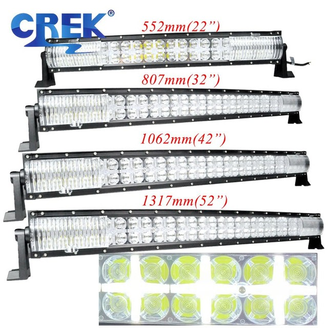CREK 22 32 42 52 inch Curved LED Work Light Bar 4x4 4WD SUV ATV Offroad LED Bar Position Light For 4WD 4x4 Offroad SUV ATV Truck