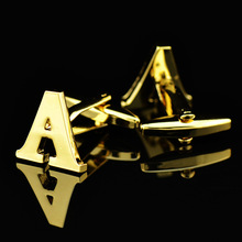 26 English Letter Fashion Men's Jewelry Gold Color Copper Men Shirts Cufflinks  A B C E F G H I J K L M N O P Q R S T U V W X цена 2017
