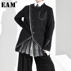 Женская куртка с длинным рукавом EAM, черная Свободная куртка с ассиметричным разрезом и воротником-стойкой, весна-осень 2020, 1H06101