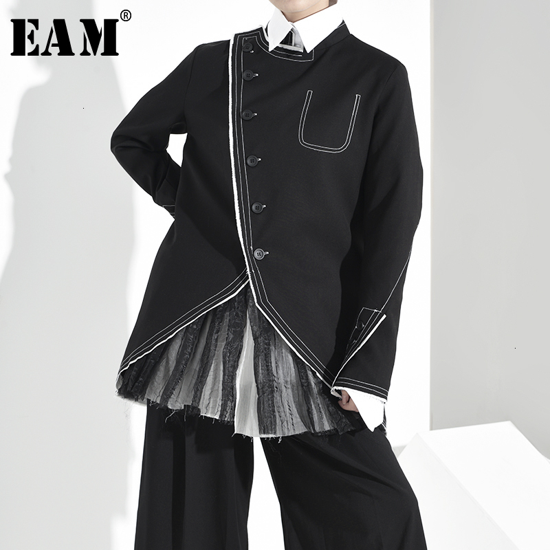 [EAM] Loose Fit Black Mesh Asymmetrical Split Jacket New Stand Collar Long Sleeve Women Coat Fashion Spring Autumn 2020 1H06101
