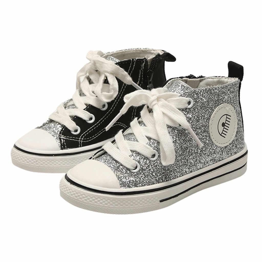 Toddler Bebek Çocuk Ayakkabı Bebek Kız Ve Erkek Moda Bling Kanvas Rahat Çocuk Ayakkabı Çocuklar Sneakers Tenis Infantil Ayakkabi