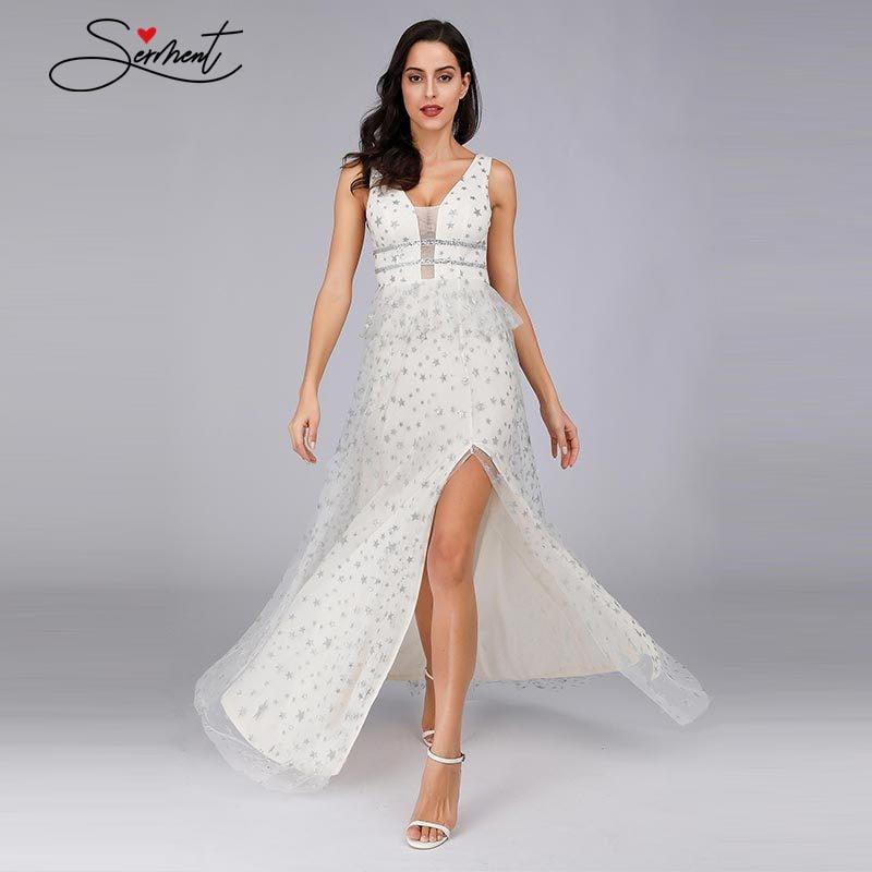 OLLYMURS New Elegant Woman Evening Gown Summer Deep V Waist Beaded Waist Ruffled Split Evening Dress Suitable For Formal Parties