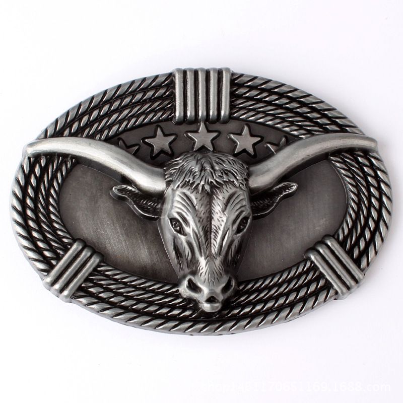 New High Quality Cool Silver Bull Head Cowboys Belt Buckle Metal Fashion Men Buckles Fit 4cm Wideth Belt