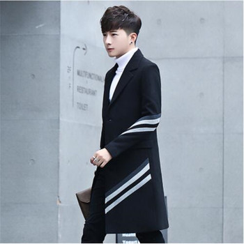 Hot Selling New Men's Stripes Long Coats & Jackets Fashion Business Casual Men Trench Slim Comfortable Clothing Size S M L-3XL