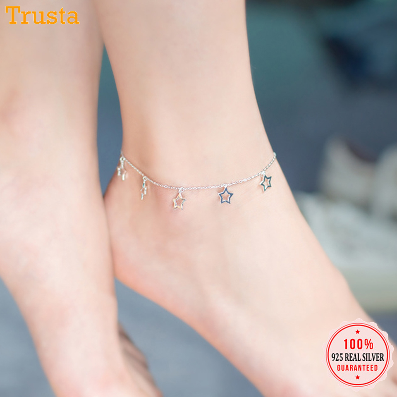 Trustdavis 925 Sterling Silver Sweet Six Hollow Star Anklets For Women Valentine's Day Birthday Sterling Silver Jewelry DS570