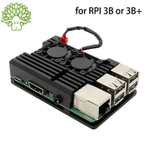 Aluminum-Case Raspberry Pi Black 3-Model Plus with Dual-Cooling-Fan Metal Shell Housing