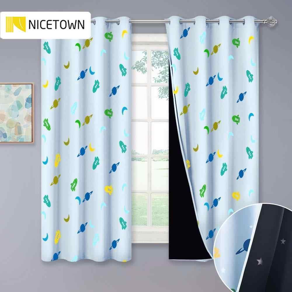nicetown rideaux occultants pour enfants rideaux 2 couches de l espace rocket moon imprimes rideaux de chambre a coucher avec etoiles