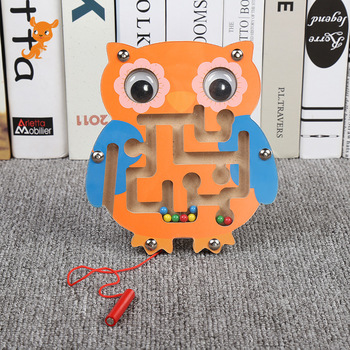 Wooden Animal Brain Teaser Toys Children Magnetic Track Maze Jigsaw Board Kids Educational Montessori Learning Puzzle Game Toy wooden animal gear game combination rotating gearwheel children educational toys hand eye interaction kids fun puzzle toy