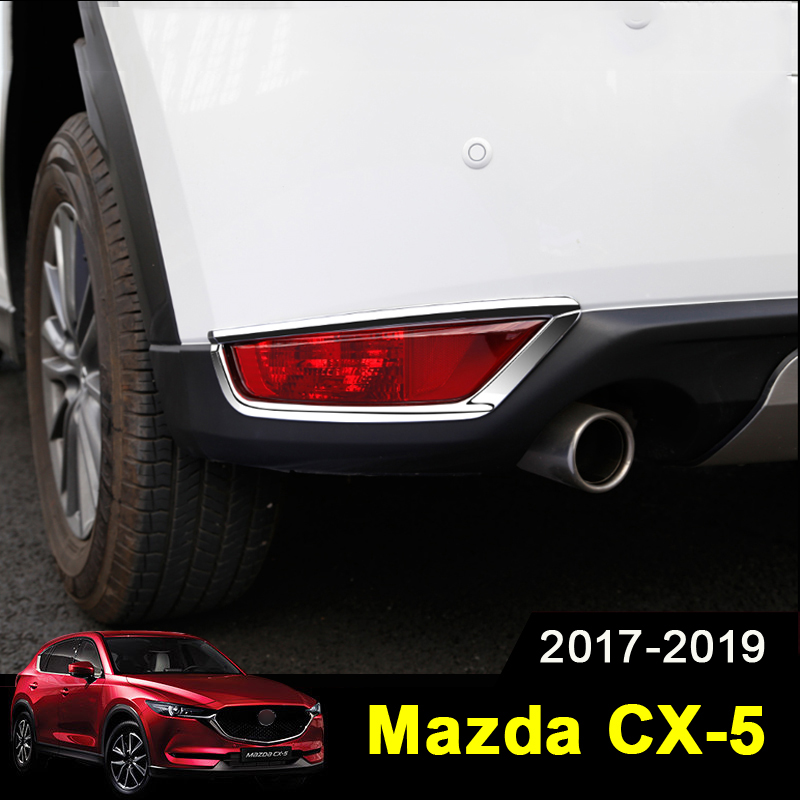 For <font><b>Mazda</b></font> <font><b>CX5</b></font> CX-5 2017 2018 2019 ABS Chrome Rear Fog Light Cover Trims Back Tail Bumper FogLight Lamp Molding Garnish image