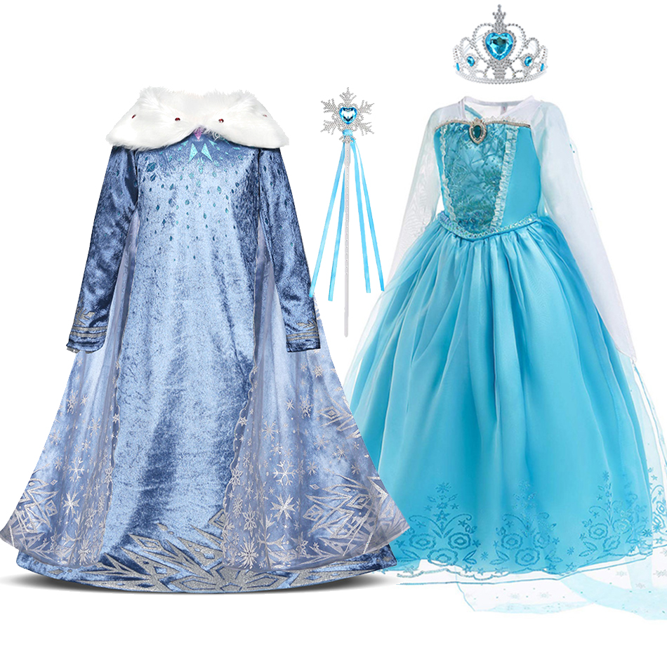 New Elsa Dress for Girl Elza Snow Queen 2 Cosplay Costume with Cloak Children Christmas Birthday Carnival Party Clothes and Wig