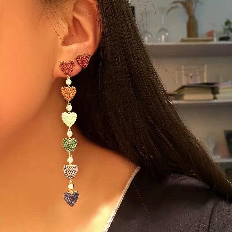 2019 Fashion Korea Colorful  Love Heart  Long Tassel Pendant Dangle Drop Earrings Women Girl Trendy Jewelry Gift