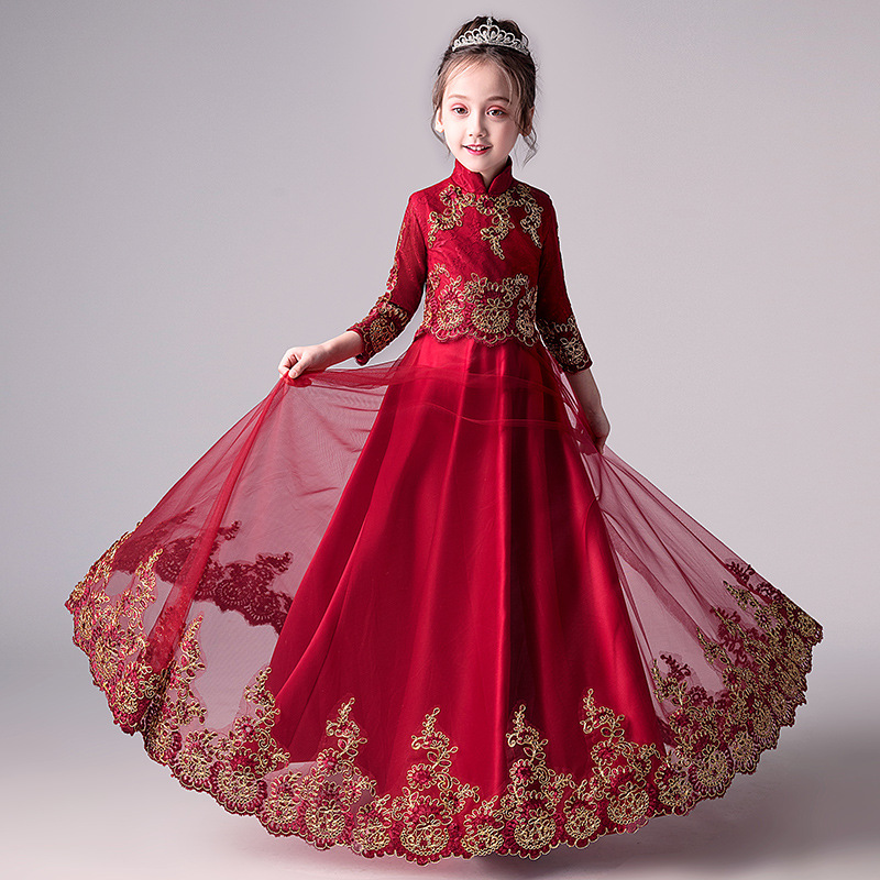 CHILDREN'S Dress Princess Dress Girls Puffy Yarn Flower Boys/Flower Girls Piano Costume Small Host Late Formal Dress Catwalks Au