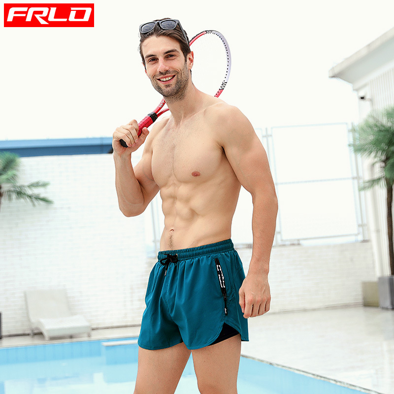 Frlo Swimming Trunks Men's Boxer Elasticity Loose-Fit Quick-Dry-Style Zipper Pocket All Lining Pool Bubble Hot Spring Beach Shor