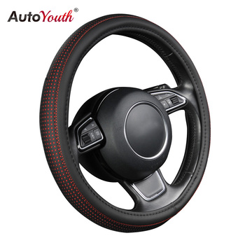 AUTOYOUTH PU Leather Steering Wheel Cover Sports Skyle with Anti-slip Braiding fit 15 in for Ford Focus 2 3 4 Mondeo Ecosport image