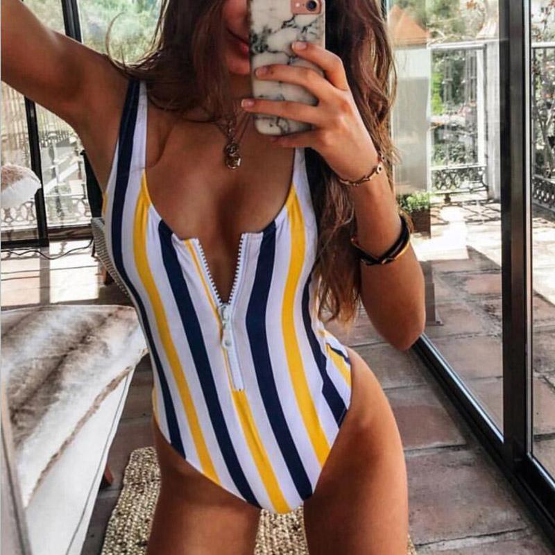 INGAGA, сексуальный цельный купальник на молнии, полосатый купальник, женская одежда для плавания с открытой спиной, монокини, спортивный купа... 38