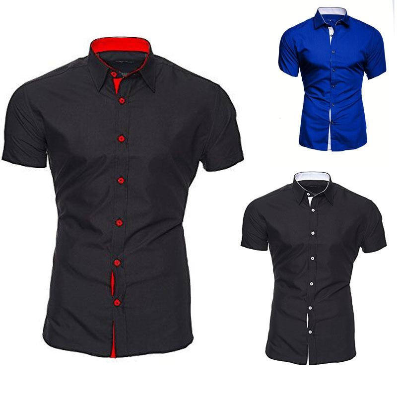 VISADA JAUNA Men's Casual Fashion Short Sleeved Shirt White Blue Black Male Office Slim Fit Shirt For Men Social Shirts 4XL