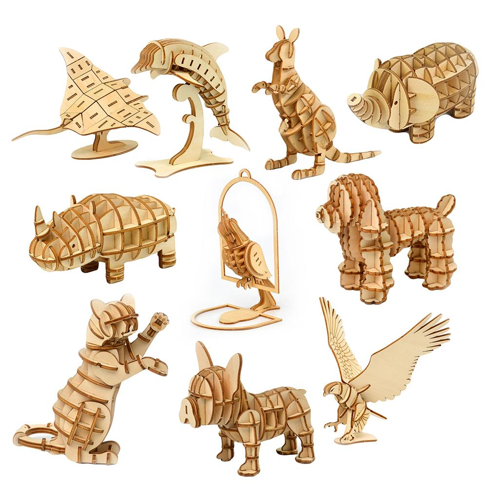 DIY Assemby Puzzles Wooden 3D Elephant Eagle Animal Model Educational Kids Toy Puzzles Assembly Models Gift For Children