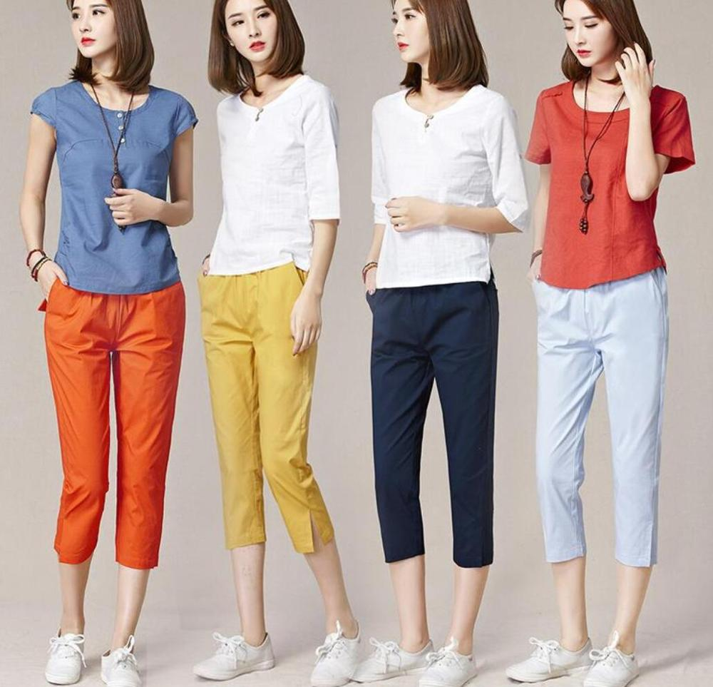 High quality pure cotton Women Capris Pants Female Summer 2020Light comfortable Women's Pants Woman Pencil Open fork Pants Capri