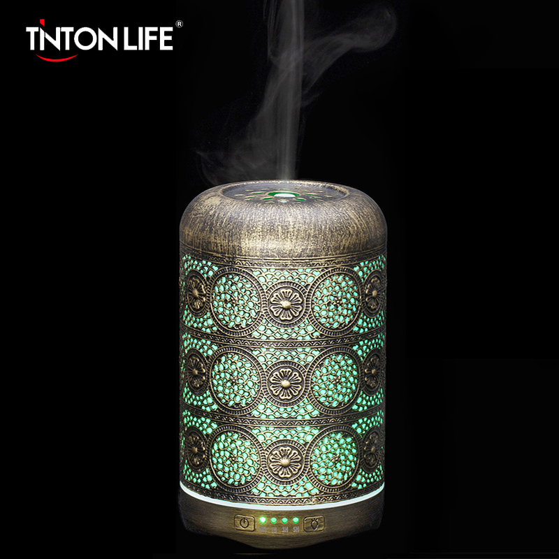 Metal Air Humidifier Auto Shut Off Timer Office Bedroom Aromatherapy Machines Essential Oils Diffuser With 7 Colors Night Light