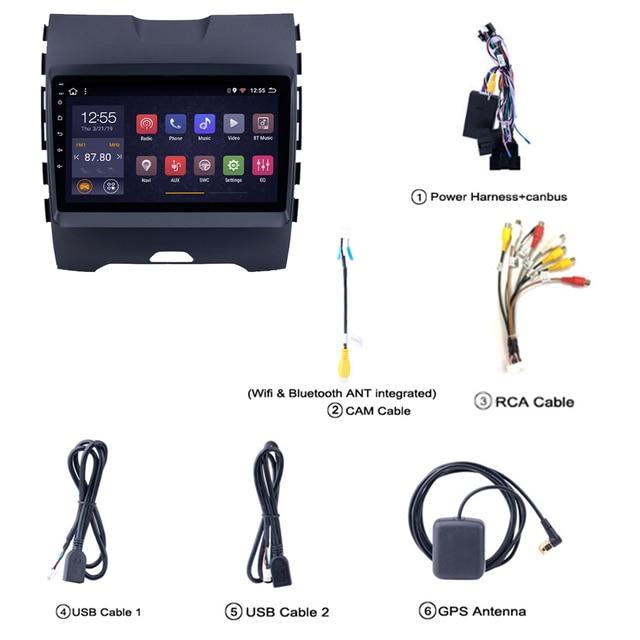 SWC unité de tête de navigation GPS | Multimédia pour Ford EDGE ranger pour auto-radio coche 8 core 2015 2016 2017 2018 1din android stéréo