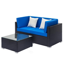 Outdoor Furniture Fully Equipped Weaving Rattan Sofa Set with 2pcs Corner Sofas & 1 pcs Coffee Table Black