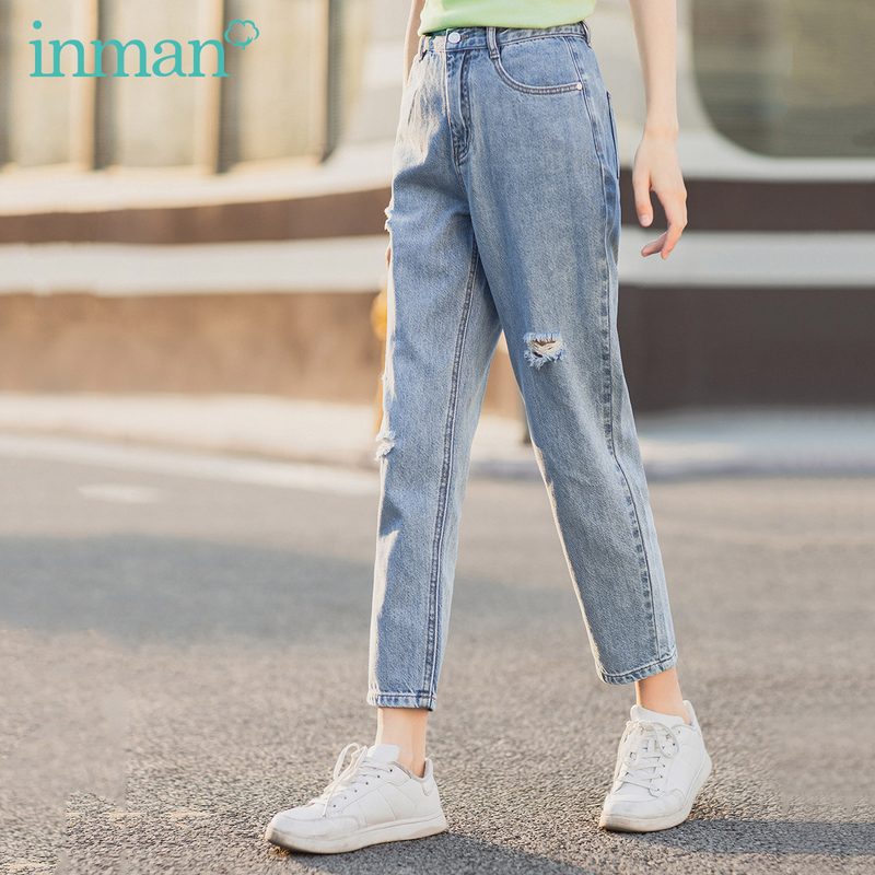 INMAN Summer New Arrival Mid High Wasit Ankle Length Fashion Causal Hole Out Fit Women Jeans Pant