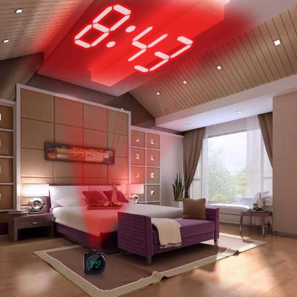 2019LCD Projectie LED Display Tijd Digitale Wekker Praten Voice Prompt Thermometer Snooze
