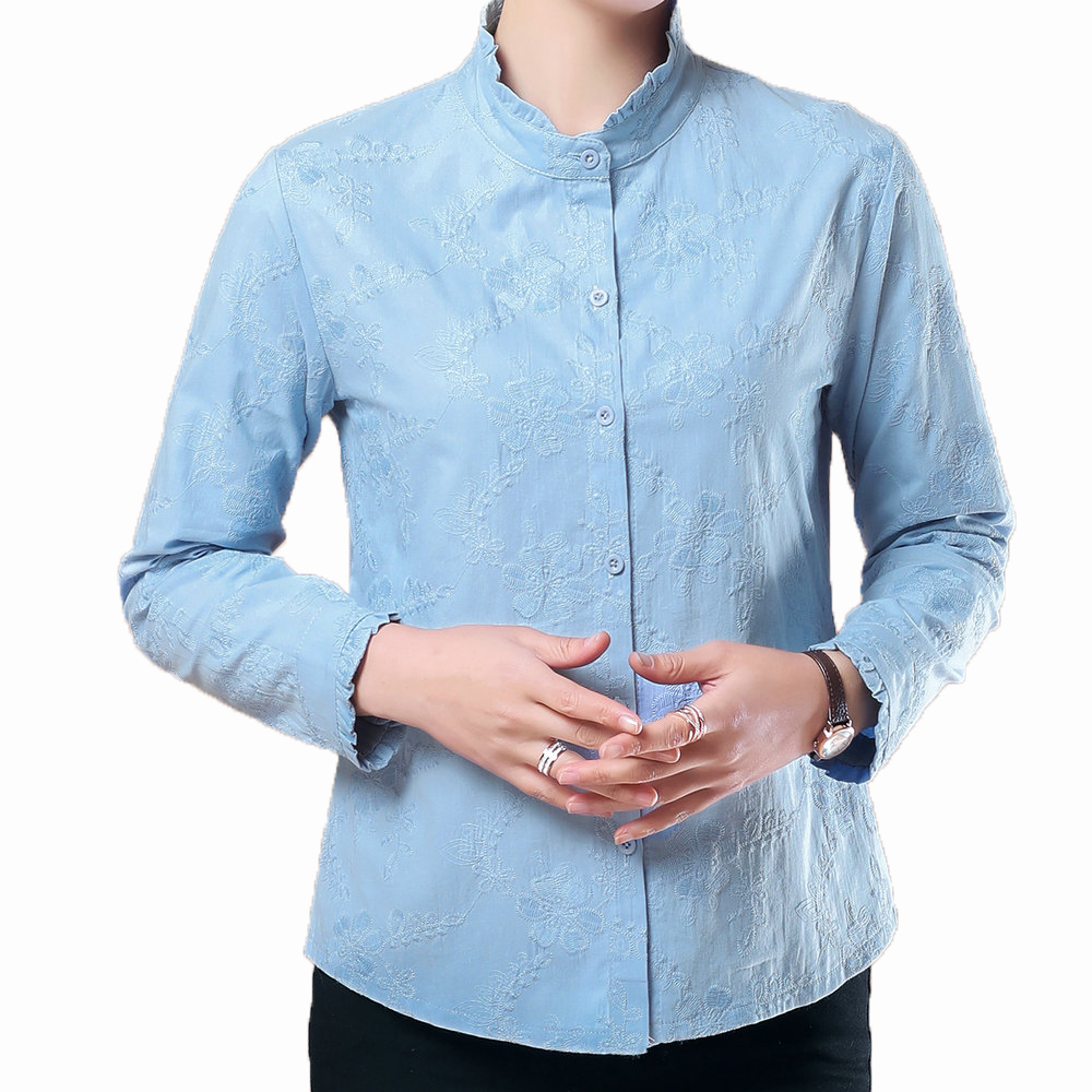 Office Lady Chic Shirt Light Blue Purple Flower Embroidery Top Female Autumn Spring Elegant Blouses Stand Collar Design Shirts in Blouses amp Shirts from Women 39 s Clothing