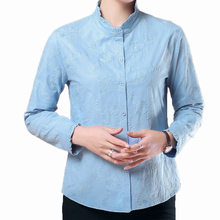 Office Lady Chic Shirt Light Blue Purple Flower Embroidery Top Female Autumn Spring Elegant Blouses Stand Collar Design Shirts